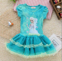 TuTu Summer Ball Gown Summer Frozen Girl Princess Dress Short Sleeve Ball Gown Baby Frozen Tutu Dresses Dream Cartoon Kids Dresses Children Clothing GX266