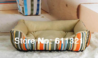 Wholesale Rainbow Stripe Luxury Pet Dog Bed Nest Puppy Cat Soft Beds Plush House Kennel Pets Supplies Products P3684