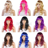 Wholesale Fashion New Sexy Womens Long Curly Full Wig Party Cosplay Fancy Dress Costume Wigs Color fx200