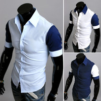 Wholesale Summer Fashion Color Men Fashion Designer Stylish Casual Slim Fit Shirt with Short Sleeves Size