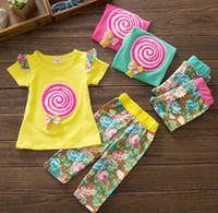 Girl baby lollipops - 2014 Summer Children Clothing Set Towel Embroidery Lollipop Tshirt Flower Pants Girl Suit Baby Kids Sets Year set GX267