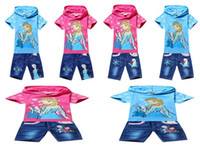 Wholesale 2014 Summer New Children Girls Lovely Set Frozen Anna Elsa Cartoon Short Sleeve Hooded Tshirt Middle Denim Pants Kids Childs Clothes G0370