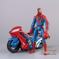 Wholesale Marvel Spiderman Spider man with Motorcycle PVC Action Figure Collection Model Toy HRFG180