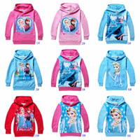 Wholesale 10 colors frozen children hoodies Princess Elsa amp Anna printed long sleeve kids clothing Fall baby girls sweaters for yrs child