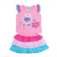 Wholesale 2013 girls summer new T shirt owl pattern dot two piece skirt cake skirt