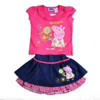 Wholesale 2013 new girls cartoon pig Pepe Rose piece fitted shirt and jeans skirt