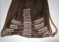 Wholesale Oxette Peruvian virgin medium brown color clip in hair extension set body wave and silk straight quot to quot Many colors in stock