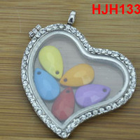 Charms Traditional Charm Flowers Wholesale - heart pendant charms Crystal Heart Shaped Lockets Floating Charm Glass Living Memory Locket Extra diy Necklace scarf Gift