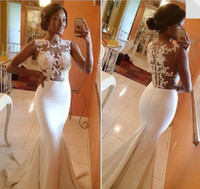 Wholesale white lace applique evening dresses illusion top sleeveless sweep train mermaid prom dresses beach wedding party dresses