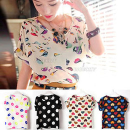 Wholesale Womens Girl Chiffon Bird Print Heart Polka Dot Batwing Sleeve Top Blouse Shirt ax258