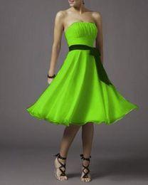 Wholesale 2014 LIME GREEN A LINE CHIFFON TEA LENGTH BRIDESMAID DRESS BRIDAL GOWNS