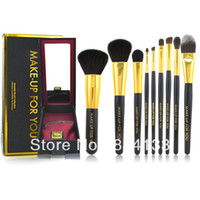 JFL18 Goat Hair Wood Free shipping professional 9pcs goat hair black cosmetic brush sets tool brand makeup brushes kit with fashion box
