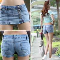 Wholesale Details about Stylish Korean Women s Slim Blue Denim Fabric Jeans Shorts Hot Pants Skirts