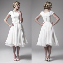 2014 Fashion Little Wedding Dresses Scoop Neckline Women Bridal Gowns Knee Length Chiffon Wedding Gowns Custom Make