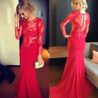 Wholesale 2014 Luxury Crew Neck Long Sleeve Sheer Top Satin Applique Mermaid Sweep Train Prom Gown Hollow Back Red Evening Dresses UM14
