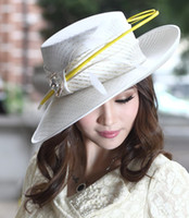 White bar tops designs - Fashion Church Hat Women Dress Hat Millinery Chapeau Ladies Polyester Yellow Feather Bar Elagant Young Girl Hearwear Newly Designed