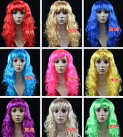 Mix Color Long Boy Masquerade Mask Cheap white purple Lace front Synthetic wigs Cosplay Halloween wigs Party Anime Curly Blonde pink black blue for sale A17