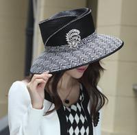 Blue church hats fashion - Women Dress Hat Church Hat Fashion Dress Kentucky Derby Hat Ladies Polyester Hats Fashion Hat Black Color Wide Free EMS Ship