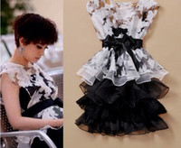Wholesale Hot Summer Ladies Tulle Flowers Dresses Set Adult Clothing Organza Bowknot Tutu Dress Women Elegant Bow Party Ruffles Dressy H0710