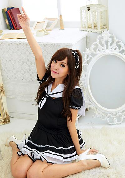 2017 Sexy Japanese School Girl Sailor Uniform Maid Cosplay Costume ...