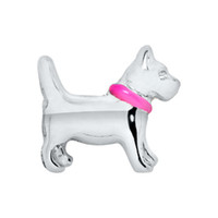 Wholesale 20pcs Origami Owl SILVER DOG WITH PINK COLLAR Charm Floating Charms For Glass Lockets