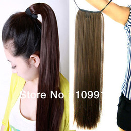 Women's Long Straight Hair Piece Steel Synthetic Ponytail Hair Extensions New LX0004