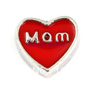 red heart charm - 20pcs Origami Owl mom in red heart Charm Floating Charms For Glass Lockets