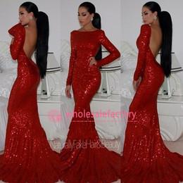 2017 robe formelle bas dos rouge 2017 Shiny Sequins Robes de bal sirène rouge Bateau manches longues bas ouvertes Robes de soirée de soirée officielle avec Swift Train BO5567 robe formelle bas dos rouge offres