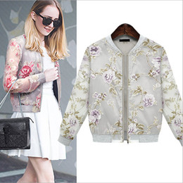 Wholesale New Arrival Women s Long Sleeves Printed Floral Street Style Fashion Organza Sun Breaker Jackets