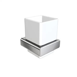 Wholesale Bathroom accessories tumbler holder toothbrush holder ceramic cup wall mounted square chrome zinc brass copper bathroom hardware