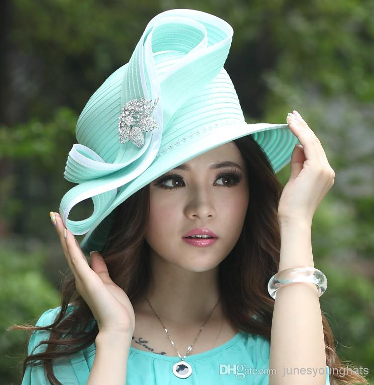 Women Church Hats Dress Hats Bow Big Hat Top Hat Winter Hat Satin ...