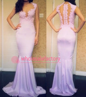 Wholesale 2014 Lilac Lace Evening Gowns Sweetheart Sleeveless Sheer Illusion Back with Appliques Sheath Mermaid Long Formal Prom Dresses