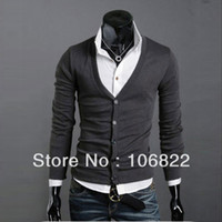 Cheap New Dark Gray Casual Mens V-neck Slim Cardigan Casual Shirt Cotton Long Sleeve