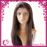 Wholesale 100 human hair straight weave virgin hair front lave wigs full lace wigs density inch Chestnut Brown Chocolate Brown