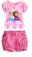 Wholesale 2016 Summer Fashion Girls Clothes Cotton Ruffle Elsa and Anna Frozen Girls Clothing Set