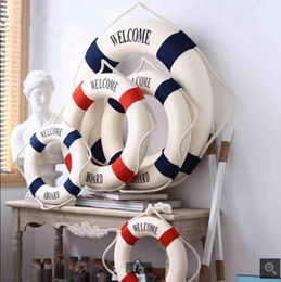 "Free Shipping Mediterranean style ""welcome aboard"" Cotton Lifebuoy Bar Living Room Decoration Nautical Home Decor"