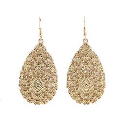 Wholesale Pendientes jewelry fashion bijoux hollow out black color alloy water drop flower dangle earrings for women