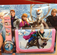 Wholesale New in Cartoon Frozen Anna Elsa Sets Watch And PU leather Wallet Purse Wrist Quartz Watches Christmas Children Gift for Boys Girls