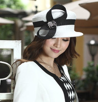 Wholesale Women Church Hats Satin Bow Women Top Hat Millinery Chapeau Two Tone Color Women Black And White Color Hats Derby Church Hats