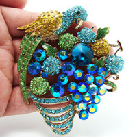 Fashion artificial parrots - Unique Fashion Blue Parrot Fruit Group Artificial Crystal Jewelry Rhinestone Brooches