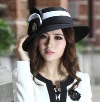 Wholesale Fashion New Ladies Church Hats Satin Fabric Satin Flower Polyester Newly Designed Satin Ribbon Flower Brooch Derby Hat