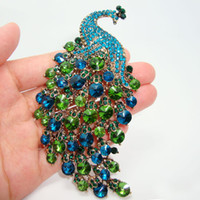 art nouveau animals - Art Nouveau Peacock Brooch Vintage Emerald Green Crystal Rhinestone Jewelry Animals