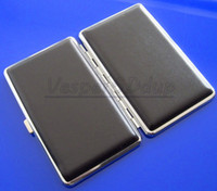 Square   10pcs lot Elegant Black Cigarette Hard Box Case Holder Metal Hold A Pack 100mm 14PCS