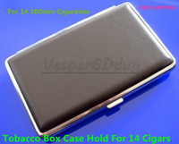 Square   Elegant Black Cigarette Hard Box Case Holder Metal Hold A Pack 100mm 14PCS