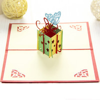 Cheap Happy Birthday Gift box & Butterfly Creative 3D Pop UP Gift Cards Handmade Free Shipping