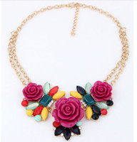 collar necklace - Chunky Bib Flower Rose Bib Necklaces Chain Statement Pendants Jewelry Collars Necklaces NB071