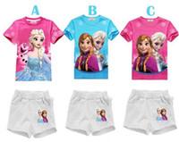 Girl Summer Short 2014 Summer Wholesale Frozen Clothing Sets for children girls printed frozen pajamas Princess baby girl sets frozen short clothing set
