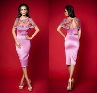 Reference Images Sweetheart Satin Sexy Custom Made 2014 Sweetheart Sequins Sash Sheath Knee Length Evening Gowns Hot Pink Satin Formal Cocktail Dresses With Jacket DL1311911