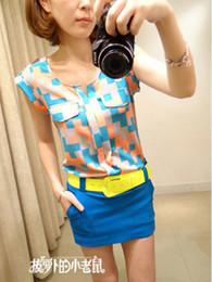 NEW 2014 fashion women girl casual clothing shirts tshirts tops tee women chiffon cool shirt color grid sweet slim shirt women