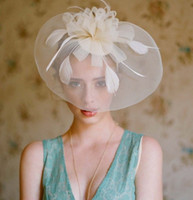 New Vintage White Flower Feathered Bridal Hats Fascinator we...